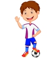 Cartoon kid playing football vector image vector image