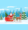 christmas santa claus rides reindeer sleigh vector image vector image