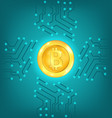 circuit background with crypto currency bitcoin vector image vector image