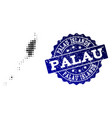collage of halftone dotted map of palau islands vector image vector image