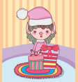 cute santa helper with gifts in the house vector image vector image
