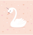 cute swan unicorn on pink background vector image vector image