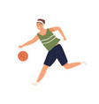 female or male basketball player running with ball vector image vector image