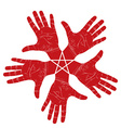 Five open hands abstract symbol with pentagonal vector image vector image