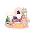 freelancer working on laptop at home remote job vector image vector image