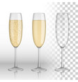 full and empty glass of champagne and white wine vector image vector image