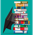 graduation cap on stack books vector image vector image