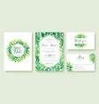 green wedding invitation watercolour style vector image