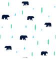 hand drawing cute bear seamless pattern vector image
