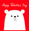 happy valentines day polar white bear cub face vector image vector image