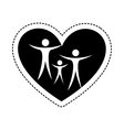Heart with family silhouette