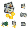 icon wallet with money vector image vector image