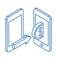 isometric money cash currency smartphone transfer vector image