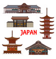 japanese temples pagoda shrines japan buildings vector image vector image