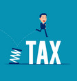 jumping from spring business tax concept flat vector image
