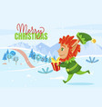 merry christmas greeting card elf carry gift vector image vector image