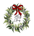 merry christmas hand-drawn watercolor leaves vector image vector image