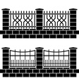 metal ornate fence black icons vector image vector image