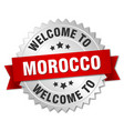 morocco 3d silver badge with red ribbon vector image vector image