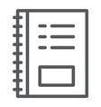 notebook line icon office and school note vector image vector image