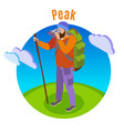 outdoor peaks hiking background vector image vector image