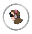 Player with virtual reality headcartoon icon in vector image