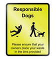 responsible dogs information sign vector image