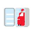 santa claus in fridge christmas holidays new year vector image vector image