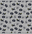 seamless pattern for halloween with cat vector image