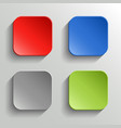set colorful buttons with shadow on white vector image
