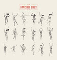 set dancing gils drawn sketch vector image vector image