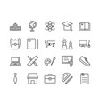 set education related line icons vector image vector image