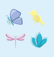 set of natural and ecology icons design vector image