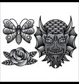 set traditional flash tattoo vector image vector image