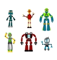 Six colorful cartoon robots isolated on white vector image vector image