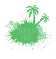 summer banner with watercolor splashes palm trees vector image