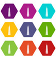 temple icon set color hexahedron vector image vector image