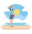travel girl on beach design vector image