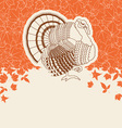 Turkey bird for Thanksgiving day card for text or vector image vector image