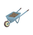 Wheelbarrow full of soil or compost cartoon vector image