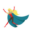 woman fluing superhero in comics costume with blue vector image vector image