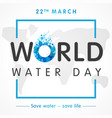 world water day map lettering banner vector image