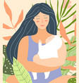 young mother holding baflat design vector image vector image