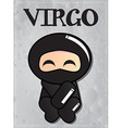 Zodiac sign Virgo with cute black ninja character vector image vector image