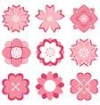 pink flower symbol set vector image