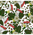 seamless pattern with tropical flowers vector image