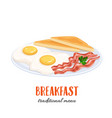 eggs with bacon and toast vector image