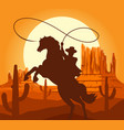 western cowboys silhouette in desert vector image