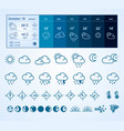 weather widget and icons set vector image