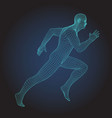 3d wire frame human body sprinter running figure vector image vector image
